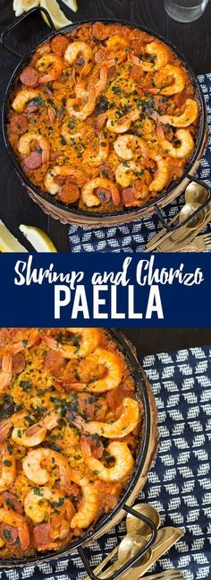This simple Shrimp and Chorizo Paella is easy to make, has classic Spanish flavors and is an impressive crowd pleaser. - This simple Shrimp and Chorizo Paella is easy to make, has classic Spanish flavors and is an impressive crowd pleaser. Shrimp Recipes, Fish Recipes, Mexican Food Recipes, Seafood Dishes, Fish And Seafood, Seafood Gumbo, Seafood Paella Recipe, Spanish Paella Recipe, Gastronomia
