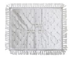 Judaica Satin Challah Cover Silver Embroidery and Hebrew Inscription