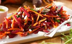 Recipe for Carrot-Beet Salad. This healthy vibrant salad can be prepared in no time, has plenty of crunch with just a hint of orange flavor, and is a perfect addition to a summertime picnic. Carrot Salad, Beet Salad, Salad Bar, Soup And Salad, Carrot Recipes, Vegetable Recipes, Healthy Recipes, Yummy Recipes, Fresh Beets