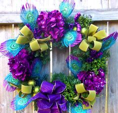Sparkly Peacock Feather Hydrangea Purple Sage Green by 3Mimis, $72.00