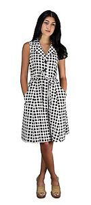 NWT-Peach-Couture-Vintage-Button-Up-Shift-Dress-Fabric-Belt-Tie-BROWN-POLKA