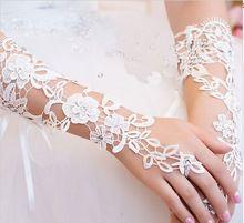 Moda elegante casamento vestido de noiva luvas luxo diamante recorte de renda marfim luvas sem dedos acessórios luvas de casamento(China (Mainland))
