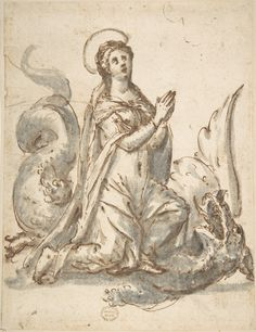 Saint Margaret and the Dragon  Published 16th century