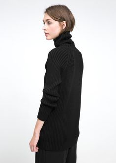 Gerippter Pullover aus Woll-Mix