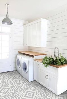 How to Get Fixer Upper Style With Shiplap. How to Get Fixer Upper Style With Shiplap. Syd and Shea McGee of Studio McGee are here with an inspired guide to help you achieve the ideal shiplap look for your home. I just love it and I bet Laundry Room Tile, Basement Laundry, Farmhouse Laundry Room, Laundry Room Organization, Laundry Room Design, Storage Organization, Farmhouse Flooring, Farmhouse Stairs, Modern Laundry Rooms