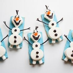 """{recipe} Olaf the Snowman snacks from the movie """"Frozen"""" lots of cute ideas"""