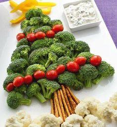 Plato de verduras para navidad.