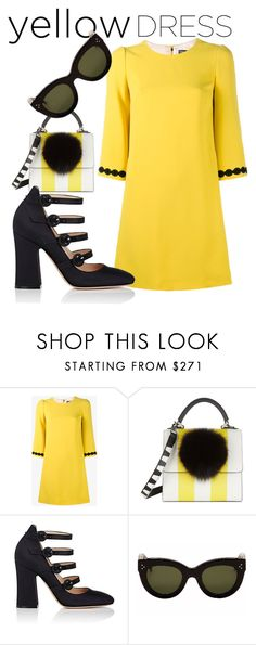 """""""black and yellow,etc.,etc."""" by vkrene on Polyvore featuring Dolce&Gabbana, Les Petits Joueurs, Gianvito Rossi and CÉLINE"""