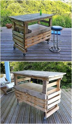 If you are looking to buy a bar table, then this idea by Les Palettes du Coeur can save your money as it is easy to make and good in looks. The table is one the wheels which make it easy to carry it anywhere in the home or outside it for enjoying wine in the lawn.