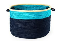Color Block Basket, Turquoise/Navy on OneKingsLane.com-This would be ideal for holding toys