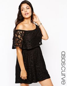 ASOS CURVE Exclusive Off Shoulder Playsuit In Lace