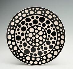 Polka Dot Plate Hand Painted Black and White Ready to Hang Bohemian - 7-7/8 Dinnerware via Etsy