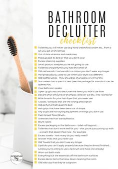 Free printable checklist of 31 things to declutter from your bathroom. Get rid of the items you really don't need! Purge your bathroom and relax! Organisation Hacks, Bathroom Organisation, Diy Organization, Organizing Ideas, House Cleaning Tips, Cleaning Hacks, Bathroom Cleaning Checklist, Cleaning Quotes, Diy Hacks