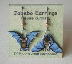 Little Brown Bat Earrings by JabeboStudio on Etsy