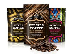 "Star Trade Coffee from Equador:   ""...By utilizing images that suggest the place of origen of the coffee, we created a bold and stilish coffee bag. Each coffee bag has its place of birth and the location from where coffee has been extracted. Star Trade Co. it's fair trade company that pays the right price for the best coffee beans in the world."" Gold Award Winner of the 42th International Creativity Awards  Designed by G Workshop Design, Equador."