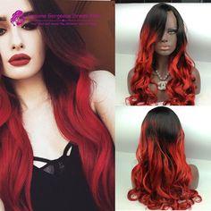 czarne włosy czerwone ombre - Szukaj w Google