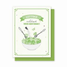 Birthday Lettuce - 4 Pack This card will grow Oakleaf Lettuce!  Each card is embedded with seeds. The recipient can plant their card in the ground and grow their own Gourmet garden. Planting instructions are printed on the back of every card. Truly unique and guaranteed to impress the cook, gardener or anyone in your life.  Our Delicious Cards are Eco-friendly: