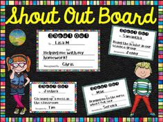 """This is a bulletin board set that allows you to showcase """"Shout Outs"""" for acts of kindness in your classroom."""