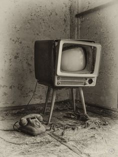 Television set left behind at Hashima / Gunkanjima.