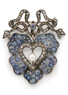 Antique Sapphire, Pearl and Diamond Heart Brooch.