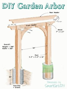 You can build this DIY garden arbor thanks to plans from The Family Handyman. You can build this DIY garden arbor thanks to plans from The Family Handyman. It& big, but not difficult, only 6 pieces of wood total. Small Garden Arbour, Garden Arbor, Diy Garden, Wooden Garden, Garden Gates, Arbor Gate, Arbor Bench, Pergola Swing, Backyard Pergola