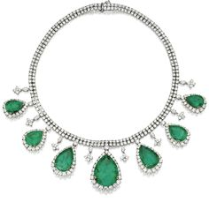 GOLD, EMERALD AND DIAMOND NECKLACE. Sotheby's.