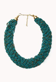 Braided Metallic Bead Necklace   FOREVER 21 - 1022647823