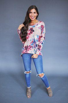 Taupe/Pink Floral Lace Back Top - Dottie Couture Boutique