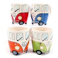 Camper Van Mugs - set of four Blue / Red / Orange / Green by Shudehill Giftware