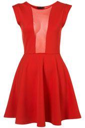 Mesh Insert Red Dress