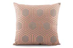 Copper Hexagon Foil Print Cushion Cover by Suraaj Linens