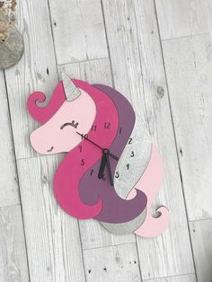 Wooden Wall Clock Woodland Decoration Unicorn Decor This beautiful kids wall clock will look beautiful in any room that has a unicorn decor theme. This unique wall clock is the perfect clock for girls and makes a great stand out feature with its beaut Clock Art, Diy Clock, Clock Ideas, Clock Decor, Unicorn Room Decor, Unicorn Wall Art, Bedroom Clocks, Clock For Kids, Fox Decor