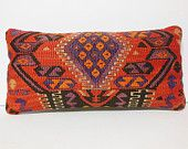 12x24 toss pillow turkish pillow cover throw pillow case kilim cushion cover coral red royal purple lumbar decor stripe colorful multicolor