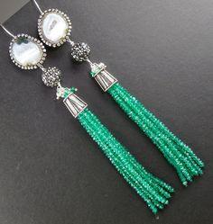 Emerald Green Onyx Tassel Earrings Geode by DoolittleJewelry, $395.00