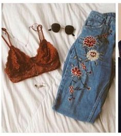 Burgandy lace bralette and high waisted jeans
