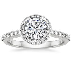 18K White Gold Halo Diamond Ring with Side Stones from Brilliant Earth. Conflict free diamonds!