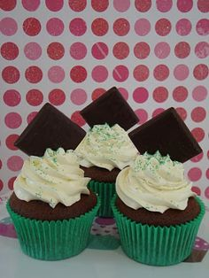 Delicious chocolate mint cupcakes !!