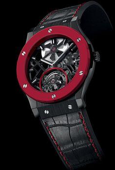La Cote des Montres : La montre Hublot Red'n'Black Skeleton Tourbillon - Pour Only Watch 2013, Hublot présente en première mondiale une montre élaborée avec de la céramique rouge vif