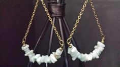 Semi precious Trapeze dangle/drop earrings Green Sponge
