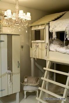 rustic cabin loft bed for kids room idea