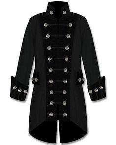 Mens-Black-Velvet-Trim-Steampunk-Vampire-Goth-Jacket-Pirate-Coat