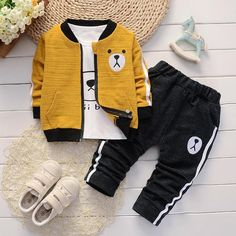 Boys long sleeve t-shirt + jacket + pants clothing sets – baby clothes – KinderMode Baby Boy Clothing Sets, Kids Clothes Boys, Kids Pants, Cute Baby Clothes, Kids Wear Boys, Infant Clothing, Baby Pants, Baby Kids Clothes, Little Boy Outfits