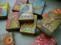 Altered matchboxes. Taproot Studio by Janice Smith.