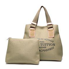 Sale 27% (32.99$) - 2 Pcs Women Canvas Tote Handbags Letter Printing Shoulder Bags Capacity Shopping Bags
