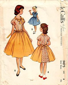 1950s McCall's 9475 Vintage Sewing Pattern Girls Party