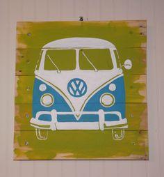 Copyrighted artwork sold on eBay.  Custom colors available.  Hippie Van VW BUS/Transporter ORIGINAL PALLET ART Retro surf/beach WALL ART