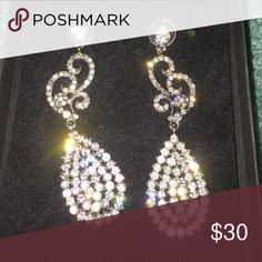 Formal Long Earrings Formal earrings worn once for prom! Still on perfect condition! Let me know if you'd like additional pictures! Jewelry Earrings