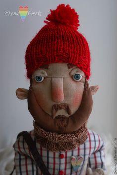 Купить Голубоглазый мечтатель))) - ручная работа, текстильная игрушка, текстильная кукла, бородач, мужчина