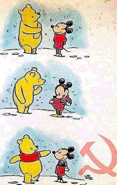 This is so pure. Winnie the Pooh and Mickey mouse get their iconic outfits. Humor Disney, Funny Disney Memes, Funny Memes, Disney Puns, Cute Disney Quotes, Disney Princess Memes, Disney Cartoons, Disney Amor, Disney Magic