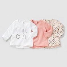 Camisola de mangas compridas (lote de 3) 1 mês-3 anos PEQUENOS PREÇOS - Bebé menina